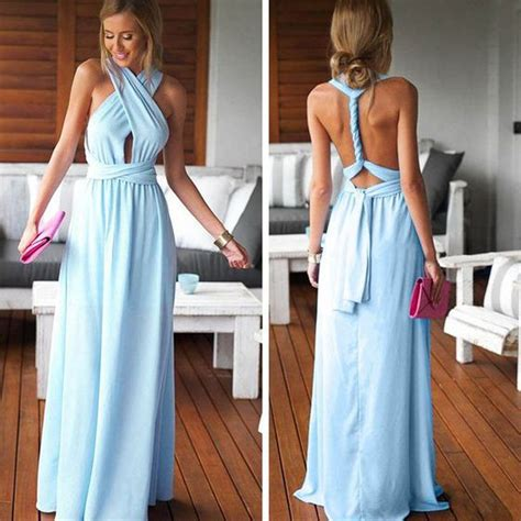 cheap simple convertible blue long bridesmaid dresses