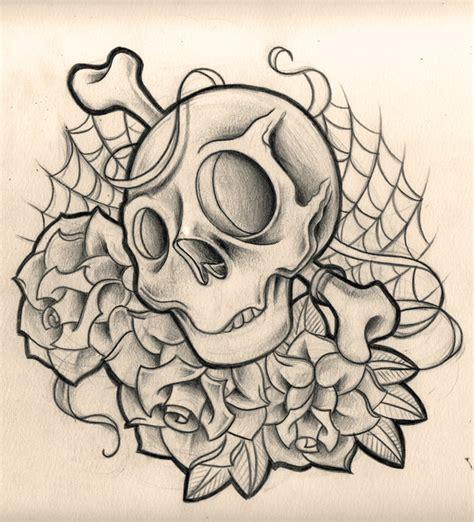 new school skull tattoo design skulls n roses by willemxsm on deviantart