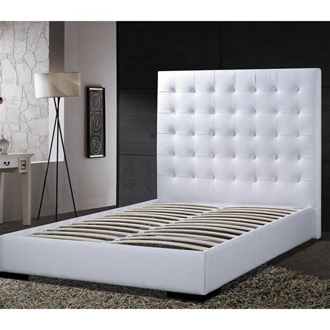 white platform bed with headboard queen size modern platform bed with white faux leather