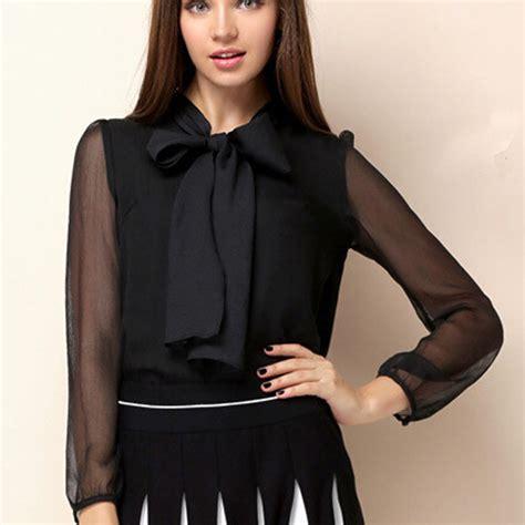 Blouse Cape Turtle Black Ab black organza see through puff sleeves chiffon blouse