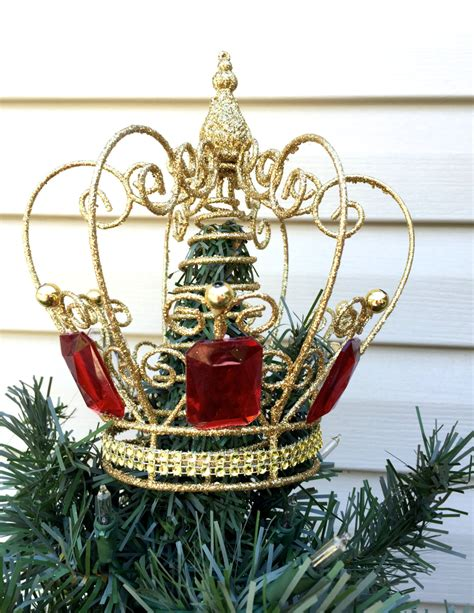 gold crown christmas tree topper glittery christmas tree