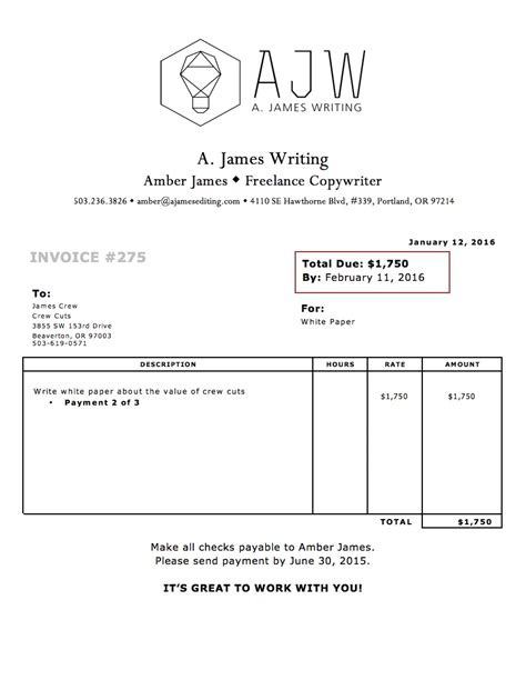 writing invoice template how to write an invoice for freelance rabitah net
