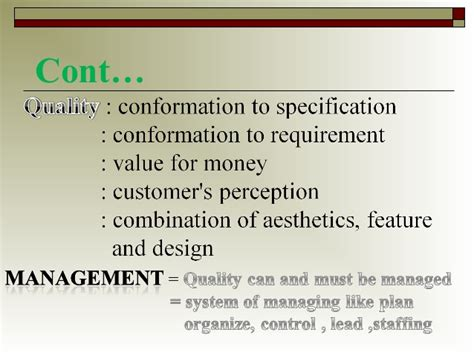 Mba In Total Quality Management Scope by Tqm Vtumba Module 1