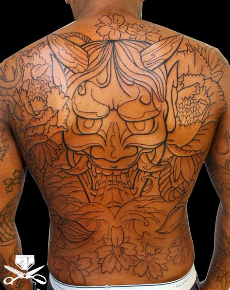 japanese back tattoo hannya mask back hautedraws