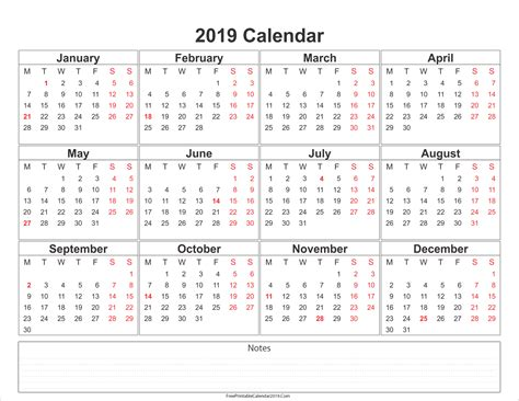 printable calendar with notes free printable calendar 2019 with holidays in word excel pdf