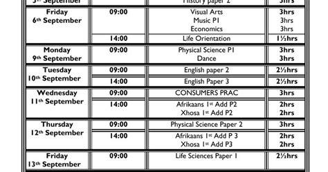 Camps Bay High School Cbhs Grade 12 Prelim Exam Timetable