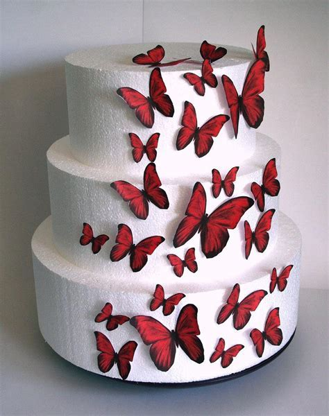Edible Butterflies Wedding Cake Topper, Red Edible