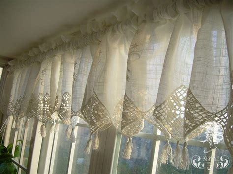 Lace Valance Curtains Set Of Country Lace Crochet Cafe Kitchen Curtain With Valance 013 Kitchen Curtains