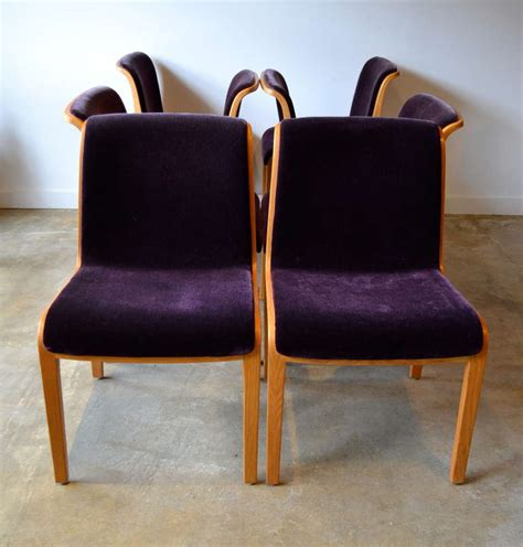 Knoll Dining Chairs Knoll Bent Wood And Mohair Dining Chairs By Bill Stephens At 1stdibs