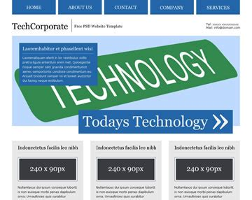 techcorporate free psd website template psd templates
