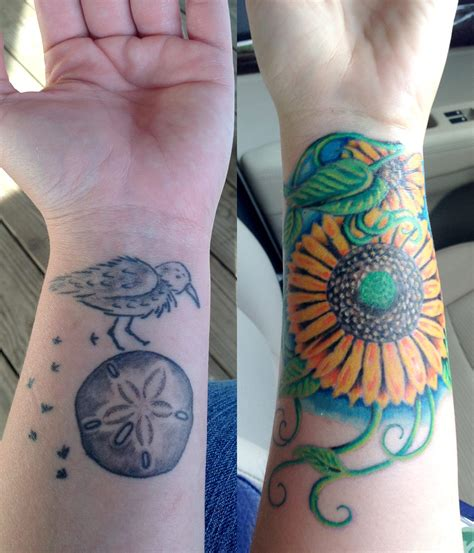 covering up a tattoo a successful sunflower cover up