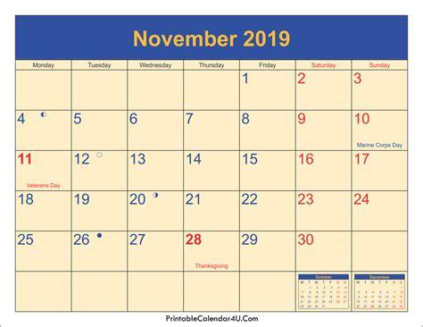 Calendar 2019 November November 2019 Calendar Printable With Holidays Pdf And Jpg