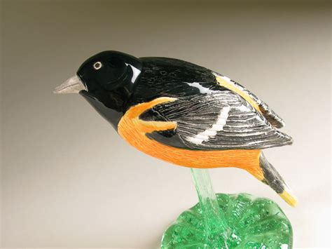 baltimore oriole hand formed pottery song bird by carrie