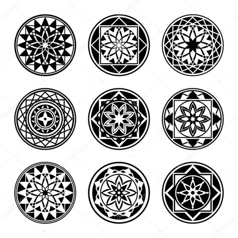 mandala elements tattoo icon set star floral stylized