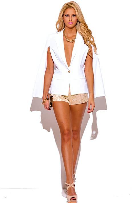 Fulla Sweater Navy white button cape blazer