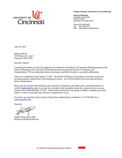 Of Cincinnati Marketing Mba Admissions by Graduate School Admission Letter By Eastman Johnson Issuu