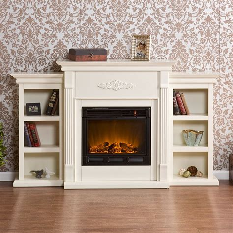 tennyson bookcase electric fireplace southern enterprises tennyson ivory electric fireplace