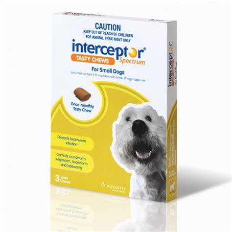 heartworm interceptor spectrum dogs interceptor spectrum tasty chew for small dogs petbarn