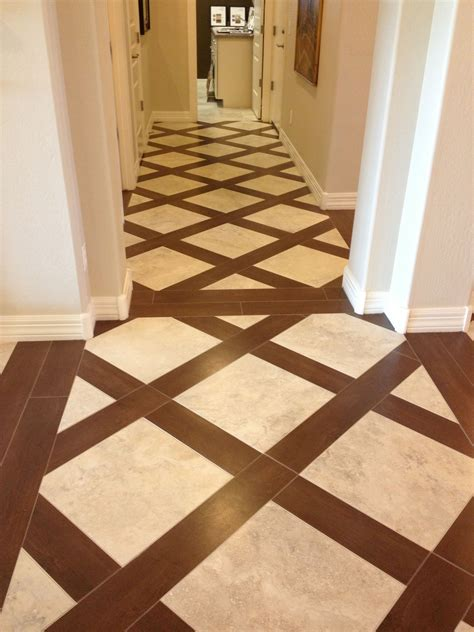 tile and wood lattice flooring; some separation from one