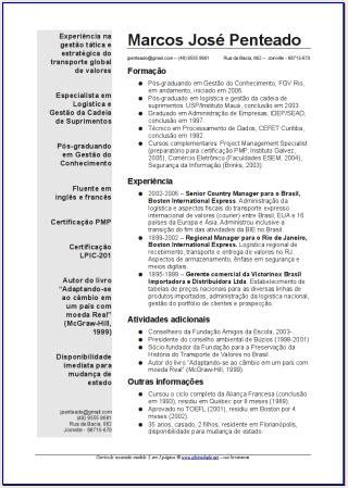 Modelo Curricular Global Global Curriculum Vitae Ejemplo