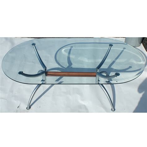 Oval Glass And Metal Coffee Table 55 Quot Scandinavian Oval Steel Glass Coffee Table Ebay