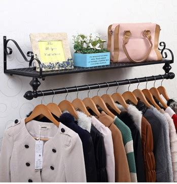 Bedroom Wall Shelves For Clothes 80 28cm Iron Clothing Racks Wall Hanger Holder Bedroom