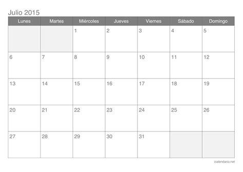 Calendario Julio 2015 Para Imprimir Calendario Julio 2015 Para Imprimir Icalendario Net