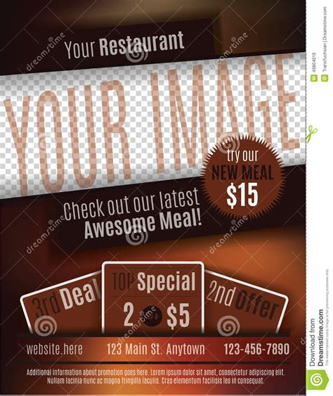 free printable restaurant coupons templates restaurant coupon flyer template stock vector