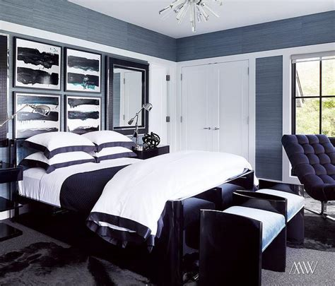 blue black and white bedroom white and blue border duvet and shams contemporary bedroom