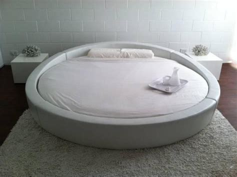 round platform beds opus modern white leather round platform bed