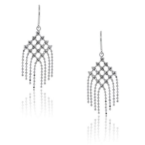 Bead Dangle Earrings co 18k white gold fringe flower bead dangle