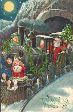 vintage santa greeting card  santa riding  train  children ramm fence equestrian blog