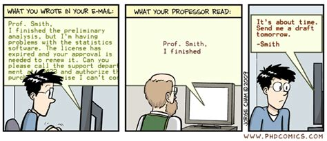 phd comics advisor email phd comics what your prof read