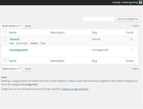 membuat kategori wordpress belajar wordpress part 3 membuat kategori postingan di