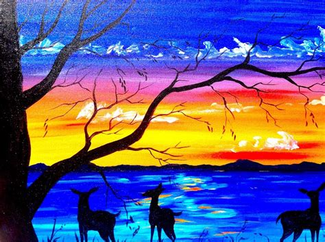 acrylic painting lessons for beginners beginners acrylic painting tutorial deer and sunset lake