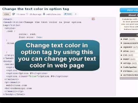css change text color css tutorial css change the text color in option tag