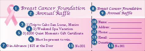 Pink Ribbon Raffle Ticket 002 Ticketriver Breast Cancer Raffle Ticket Template