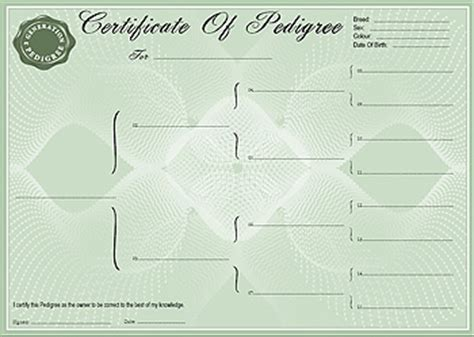 pedigree certificate template free pedigree certificate forms 3 generation forms and