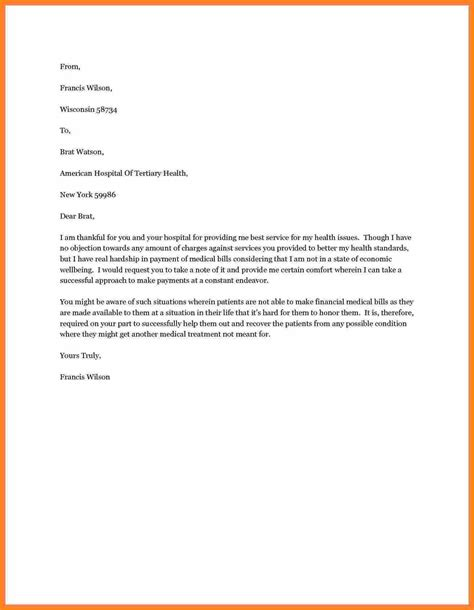 Hardship Letter For Assistance 4 Appeal Letter For Bill Simple Bill