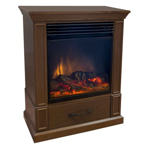 comfort earth elkin 20 quot mobile electric fireplace walnut