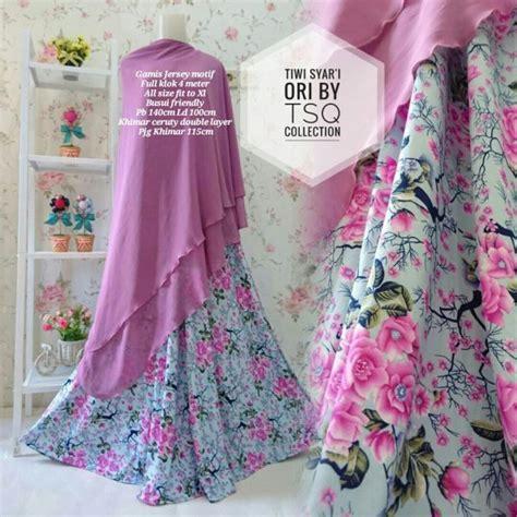 Syari Tosca Motif Bunga baju gamis cantik b110 tiwi syari motif bunga busana muslim