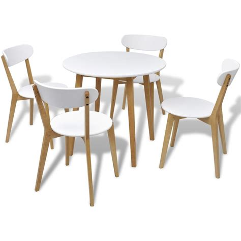 Small Wooden Dining Table And Chairs Small Table And 4 Chairs Birch Wood Bistro Coffee Dining Set Modern White Ebay
