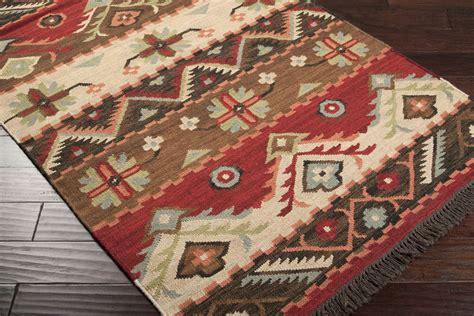 Southwestern L by 5x8 Designer Southwestern Lodge Woven Wool Flatweave