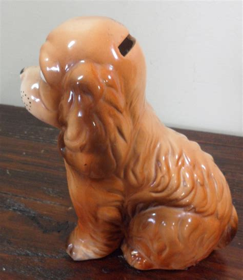 puppy piggy bank vintage made in japan ceramic cocker spaniel puppy coin piggy bank ebay