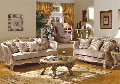Leander Formal Living Room Set In Antique White Wash White Vintage Living Room Furniture