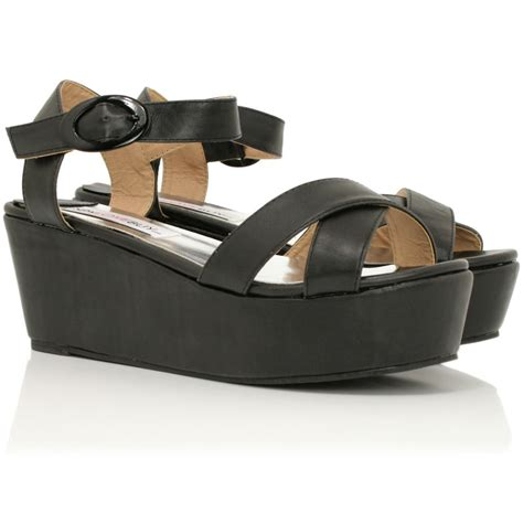 new womens wedge heel open toe ankle flatform