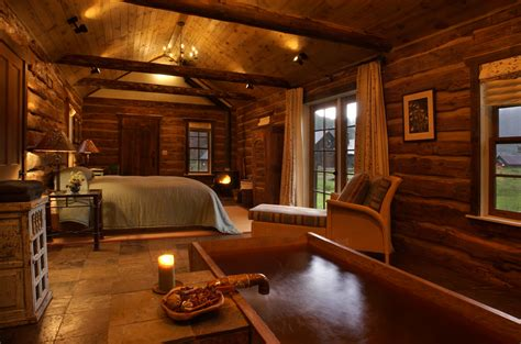 wood home interiors cabin bedroom