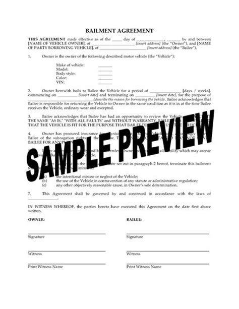 bailment agreement template bailment agreement for vehicle forms and business
