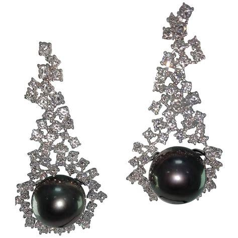 vintage pearl chandelier earrings tahitian cultured pearl chandelier earrings for