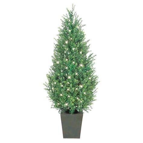 shop ge 4 5 ft indoor outdoor boxwood pre lit decorative